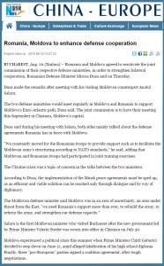 Xinhua - Romania, R Moldova, cooperare aparare
