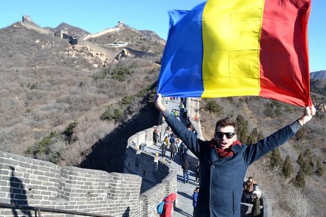 Tricolorul Romaniei la Marele Zid de 1 decembrie 2016 Ca
