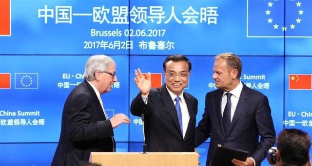 Jean-Claude Juncker, Li Keqiang, Donald Tusk_2 iunie 2017, Bruxelles 2