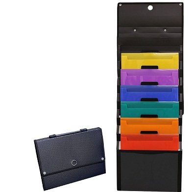 wall mount file organizer a4 6 pocket hanging holder office folder storage ebay. Black Bedroom Furniture Sets. Home Design Ideas