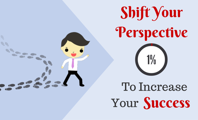 Header with a cartoon man running off the path and the text Shift Your Perspective by 1% To Increase Your Success