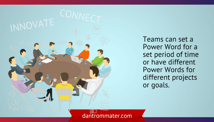 Use power words with your team illustration of a group of people sitting around a table collaborating