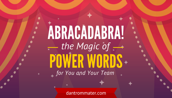 Magic of Power Words for you and your team - magician's stage and red curtains