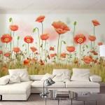 Tranh Dán Tường Vườn Hoa Ngập Sắc Đỏ - DA241