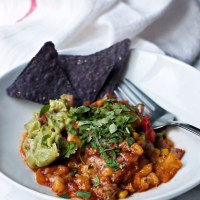 Mexican casserole with roasted corn and peppers