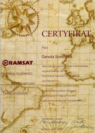 Certyfikat Ramsat Danuta Sowińska