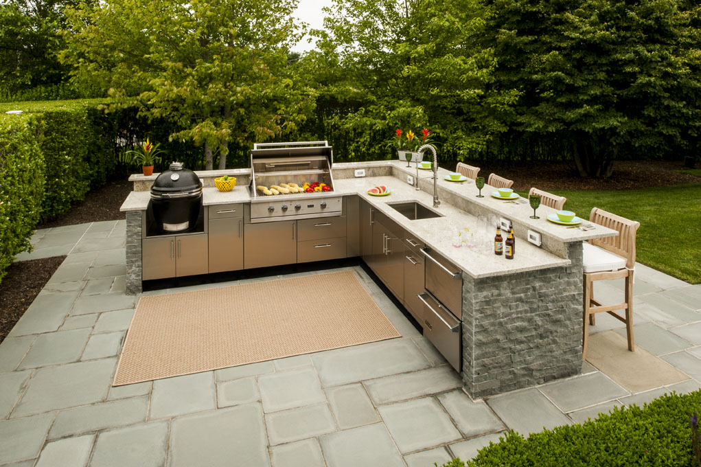 L-Shaped Outdoor Kitchen Design Inspiration | Danver on Backyard Patio Grill Island id=19386