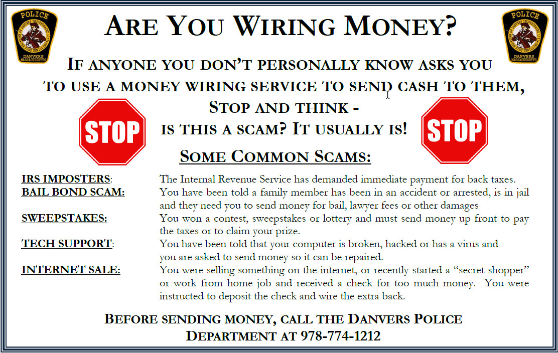 MoneyWiringScamSign What Is Money Wiring on