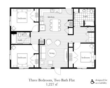 3 Bed, 2 Bath Flat