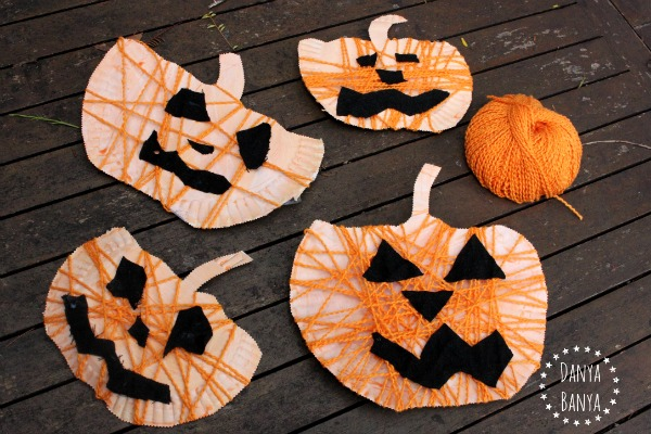 Yarn-Wrapped Paper Plate Jack-o-Lantern Craft For