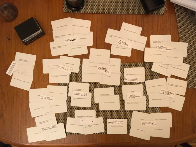 A selection of Oblique Strategies cards grouped according to the Fifteen Properties.