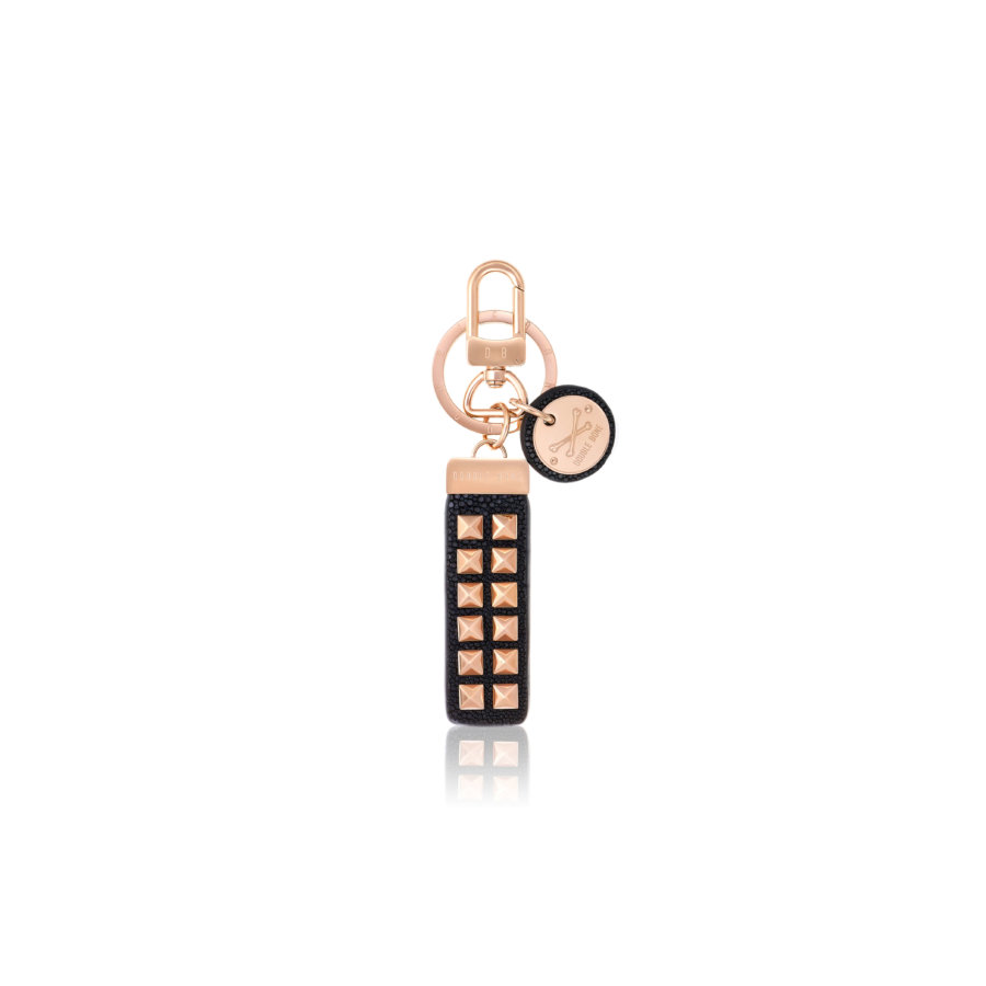 Black stingray Keychain with Pink Gold Studs.