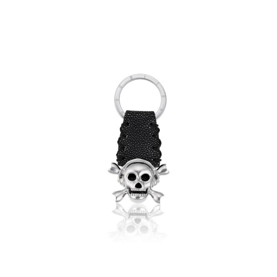 Black stingray Keychain with Silver Skull.