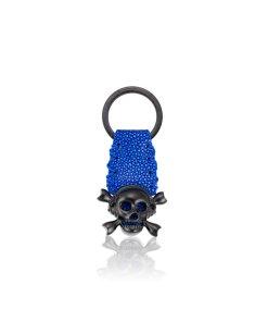 Blue Stingray Keychain with Black Skull.