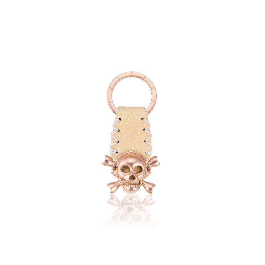 White stingray Keychain with Pink Gold Skull.