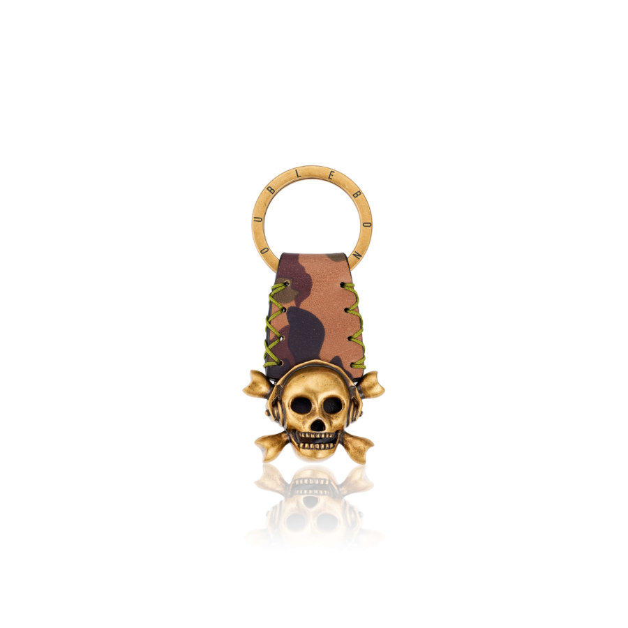 Camo Leather Keychain with Antique Brass Skull.