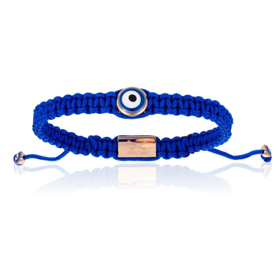 Blue Nylon bracelet with Pink Gold Eye (Unisex)