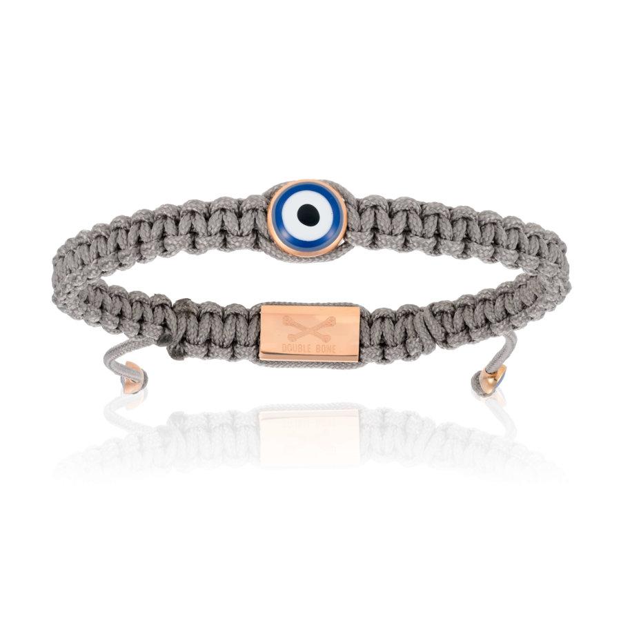 Grey Nylon bracelet with Pink Gold Eye (Unisex)