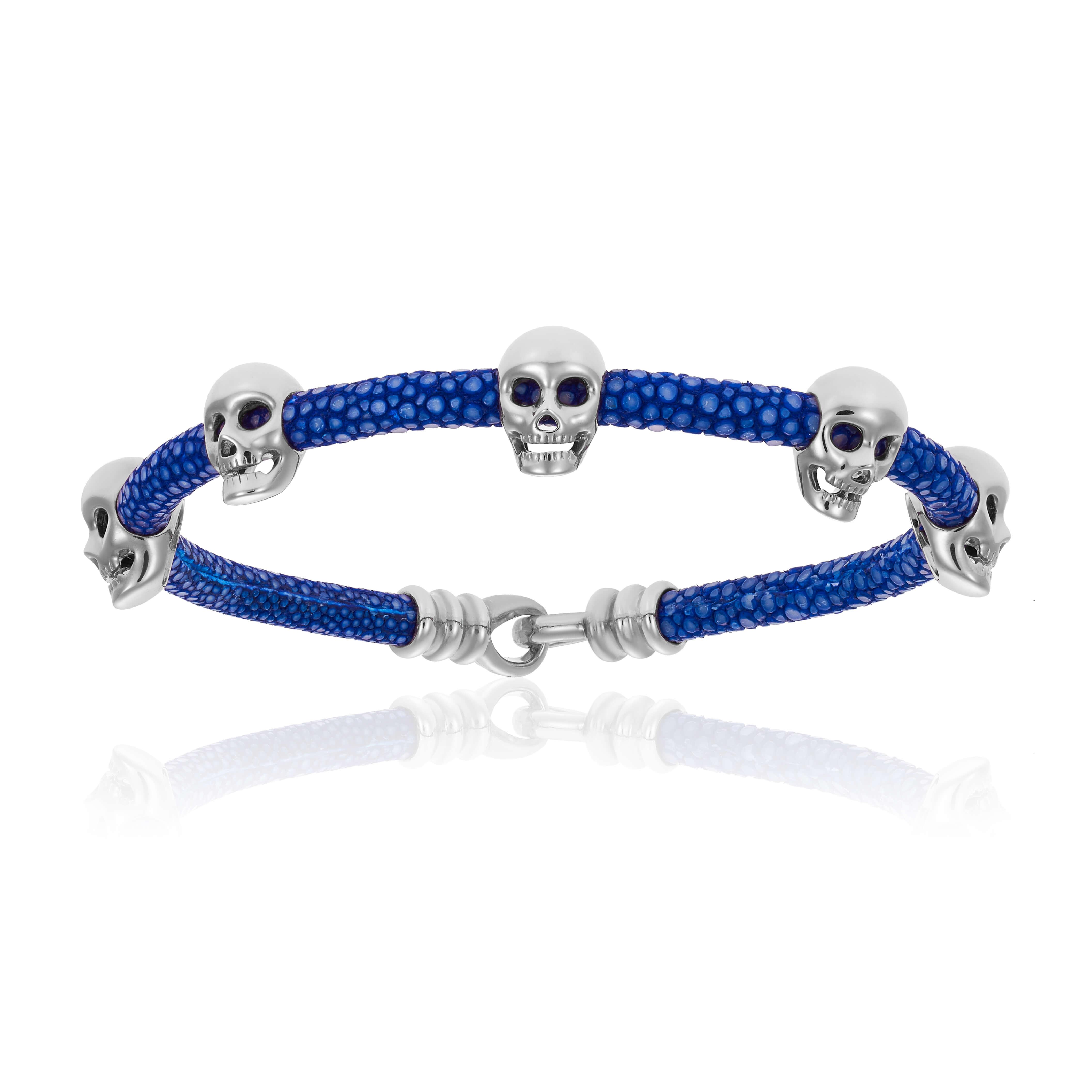 Blue stingray bracelet with silver skull (Unisex)