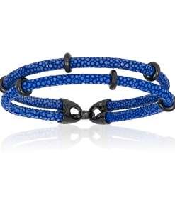 Blue stingray bracelet with black beads (Unisex)