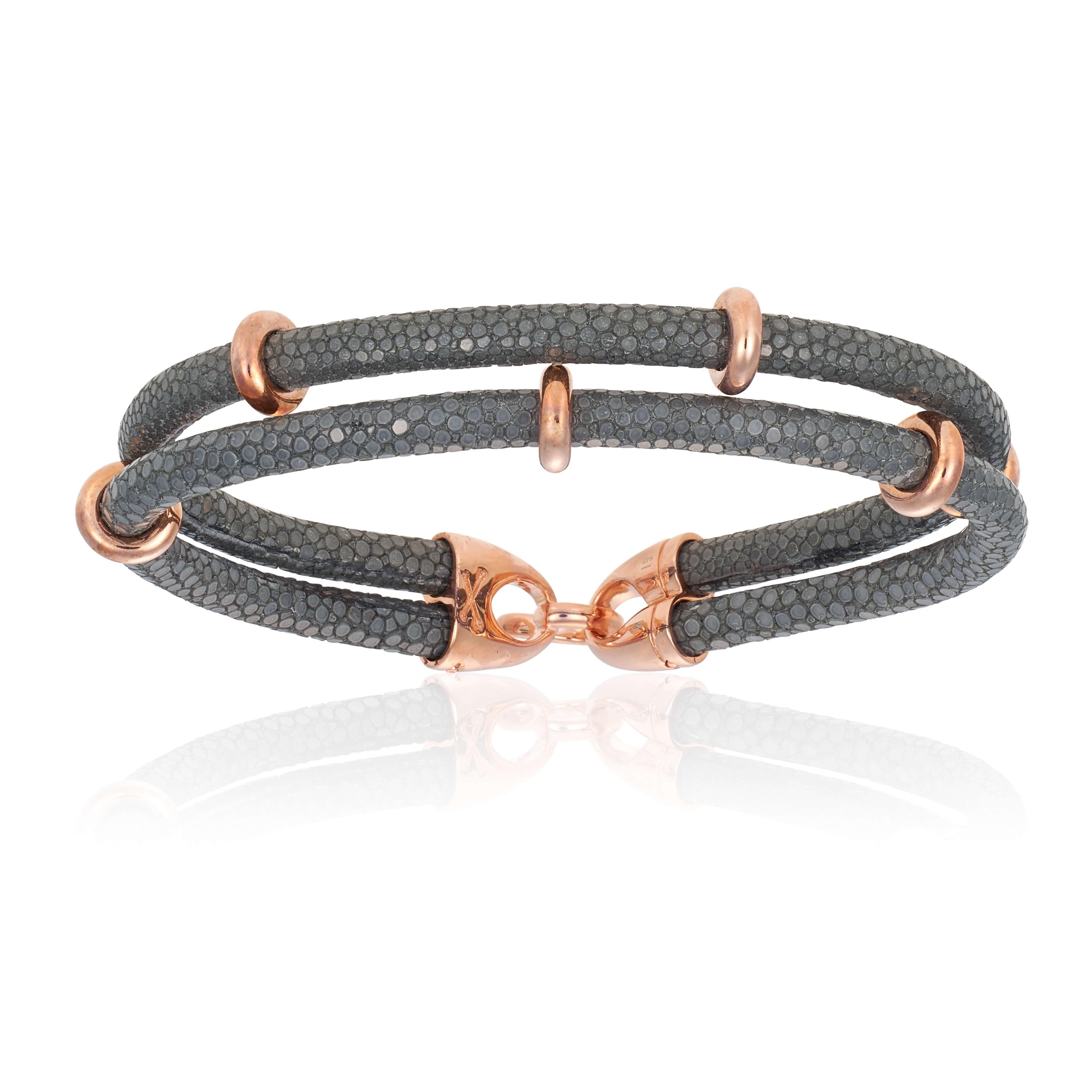 Gray stingray bracelet with rose gold beads (Unisex)