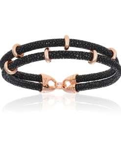 Black stingray bracelet with rose gold beads (Unisex)