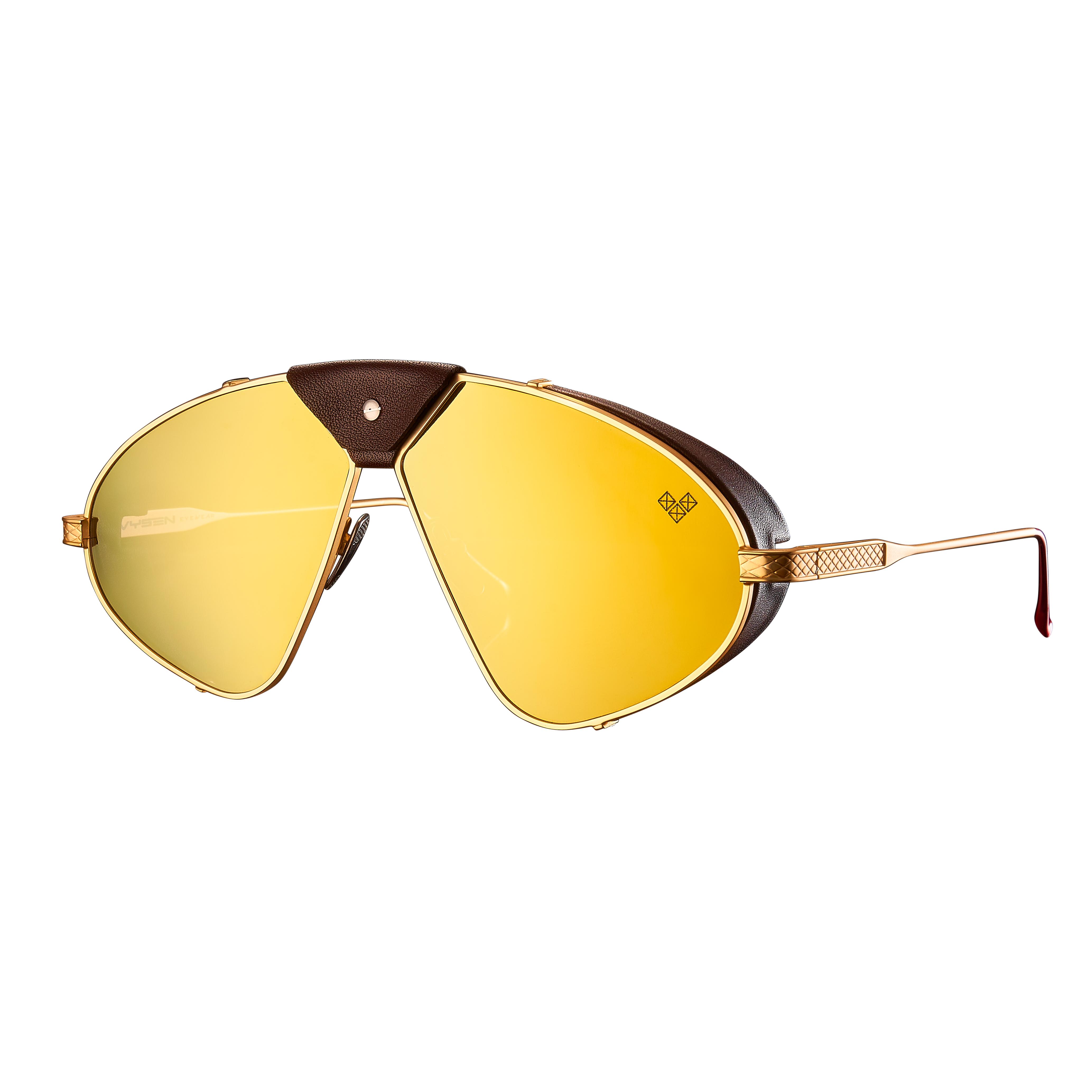 Luis Fonsi - F - 4 + Matte Gold Frame + Gold Mirror Lenses + Dark Brown Leather