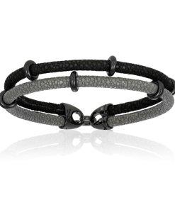 Gray / Black stingray bracelet with black PVD beads (Unisex)