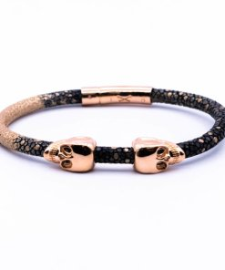 Black stingray bracelet with Pink Gold Skull for man 6/10 size 17cm (DB305)