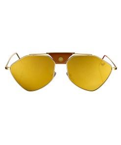 LETEC-LT-1G - Gold Frame - Gold Mirror Lenses + Brown Leather