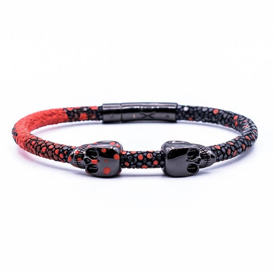 Black stingray bracelet with Black Skull for man 8/10 size 21.5cm (DB305)
