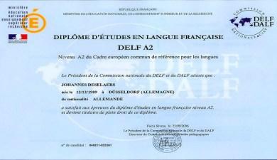 Chứng chỉ Ngoại ngứ thứ 2 - Tiếng Pháp B, A2