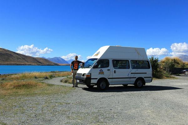 Happy onze camper @ Lake Tekapo