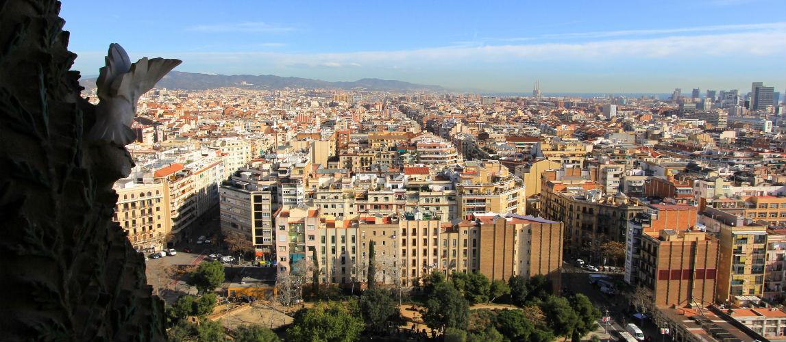 Barcelona uitzicht over de stad vanaf de Sagrada Familia