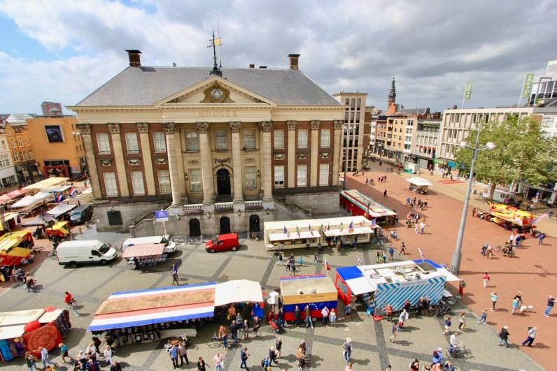 Uitzicht over de grote markt in Groningen