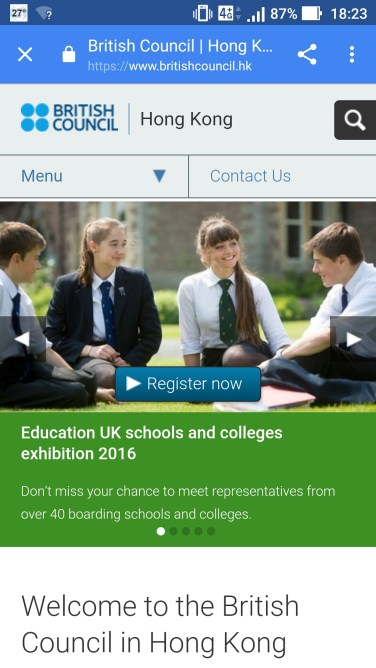 The British Council's website in Android