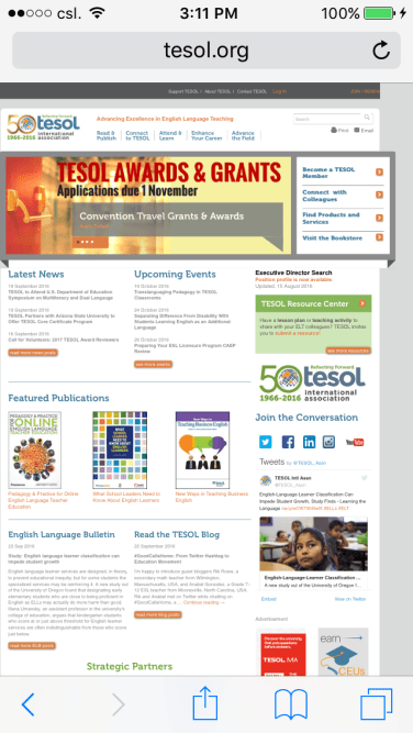 TESOL website in IOS