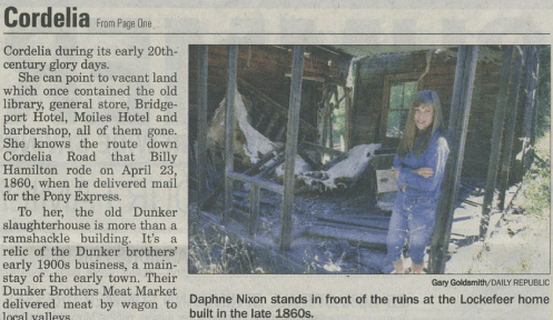 Daphne Wynne Nixon works to save Old Town Cordelia in 2002, Fairfield Daily Republic Newspaper.