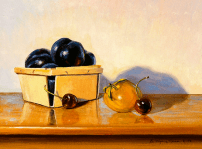 """Summer Plums and Cherries"", 11"" x 14"", oil by Daphne Wynne Nixon"