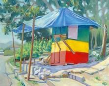 """""""Shady Roadside Stand"""", 11"""" x 14"""", oil by Daphne Wynne Nixon"""