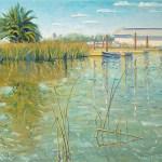 """Tule Reeds in Suisun Harbor"", 16″ x 20″ by Daphne Wynne Nixon"