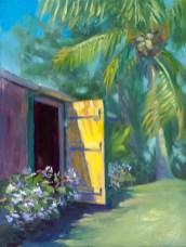 """Behind the Yellow Door"", 9"" x 12"", oil by Daphne Wynne Nixon"