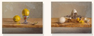 """Hardboiled Lemon and Egg Squeezer"" diptych, 16"" x 20"", oil on board by Daphne Wynne Nixon"