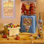 """""""Strawberry Machine and Gum Ball Basket"""", oil, by Daphne Wynne Nixon"""