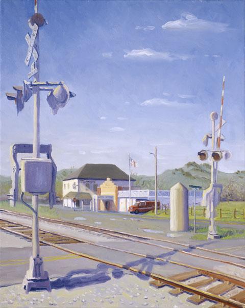 """Old Town Cordelia Railroad Crossing"" by Daphne Wynne Nixon in 2005"