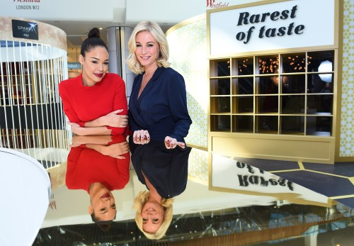EDITORIAL USE ONLY Sarah-Jane Crawford and Denise Van Outen pictured at the opening of Indulgence at Westfield London, curated by food experiential agency Condiment Junkie and presented in association with M&S. PRESS ASSOCIATION Photo. Picture date: Thursday February 18th, 2016. There will be four indulgence rooms including Sumptuous Smells, The Extreme Intensity Laboratory, Guilty Pleasures and The Rarest of Tastes and will allows visitors to explore the vast world of food and how it can be created in innovative ways that makes it hard to resist. Photo credit should read: Matt Crossick/PA Wire