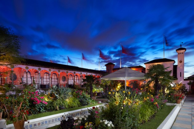 The Spanish Garden at nighttime, Kensington Roof Gardens