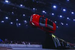 NOTE: IMAGE STRICTLY EMBARGOED UNTIL 20.00 BST, JULY 13th 2017. NO ONLINE USE PRIOR TO THIS TIME..Jaguar and stunt driver Terry Grant set a new Guinness World Record for longest barrel roll at the global launch of the new Jaguar E-PACE at ExCel London.