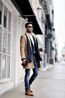 Overcoat shirt scarf