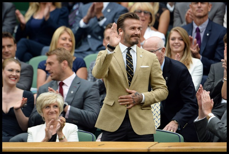 David Beckham with his mother Sandra (L) in the royal box on centre court on day six of the Wimbledon Lawn Tennis Championships at the All England Lawn Tennis and Croquet Club at Wimbledon in London